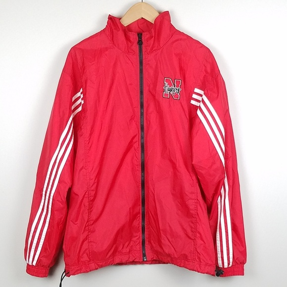 9d1ca6c2e3ea3 Adidas Nebraska Red Windbreaker Jacket Size S